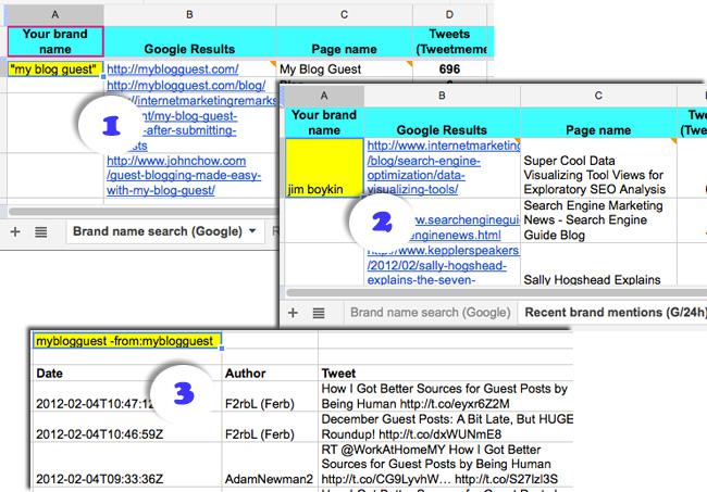 Reputation management Google spreadsheet tabs