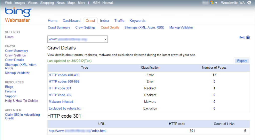 Crawl Details screen in Bing Webmaster Tools