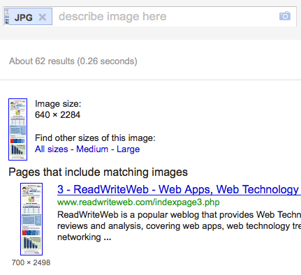 Google by image search results