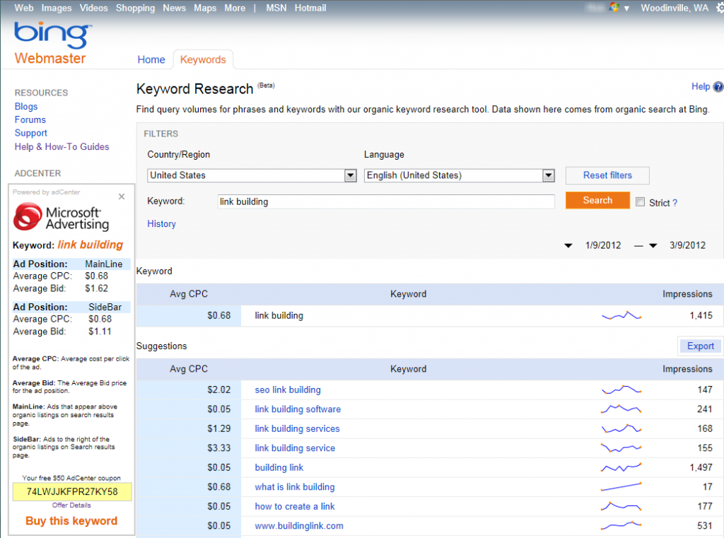 Keyword Research screen in Bing Webmaster Tools