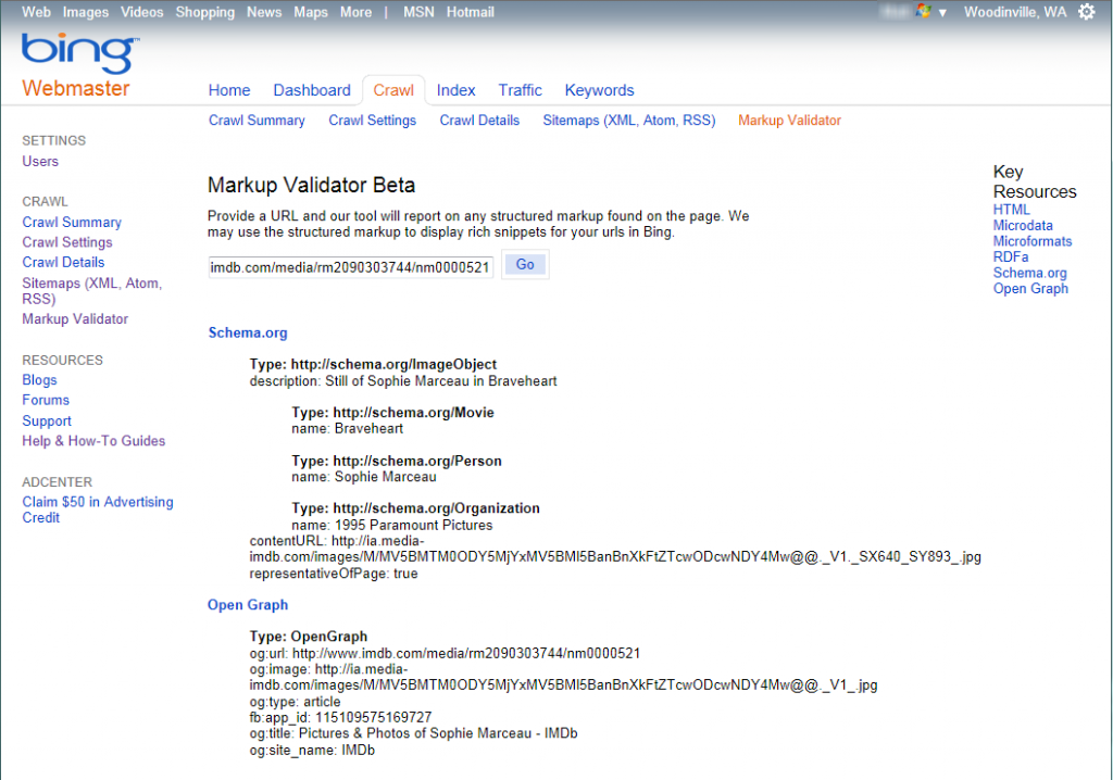 Markup Validator screen in Bing Webmaster Tools