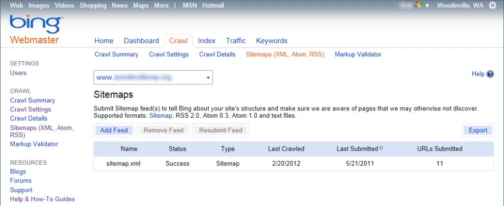 Sitemaps screen in Bing Webmaster Tools
