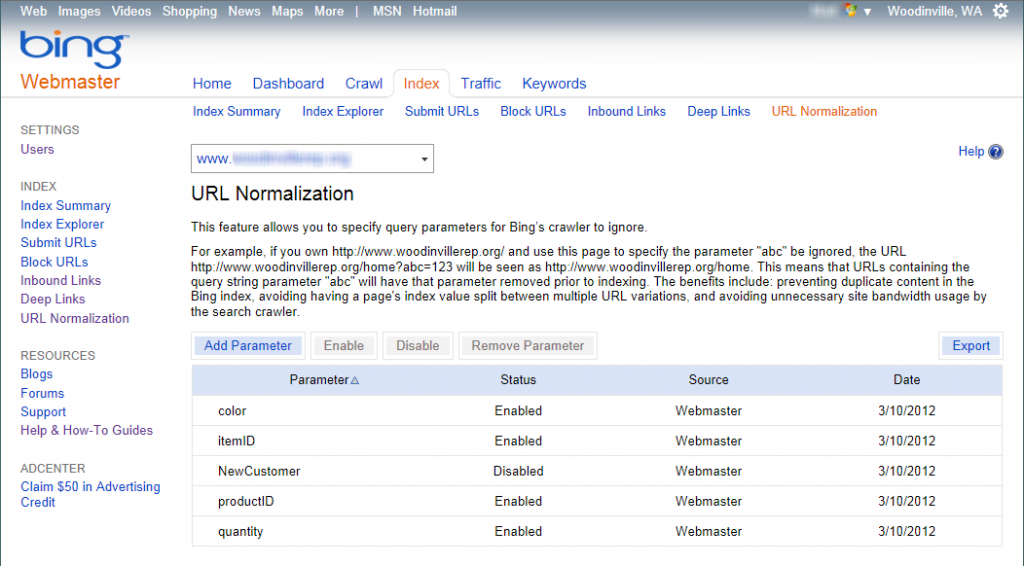 URL Normalization screen in Bing Webmaster Tools