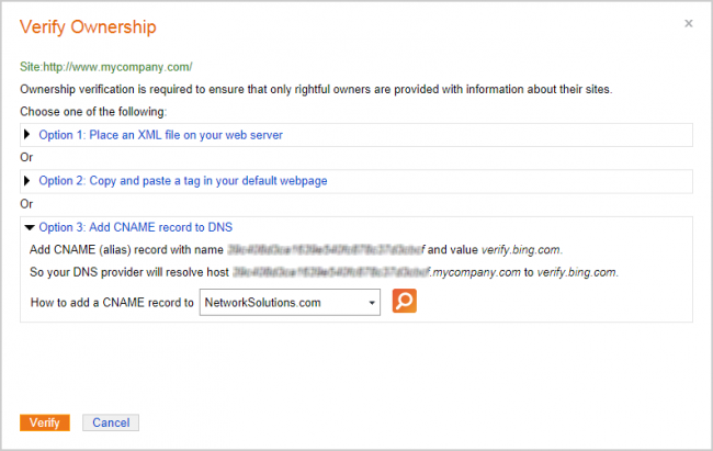 Verify Ownership dialog box in Bing Webmaster Tools