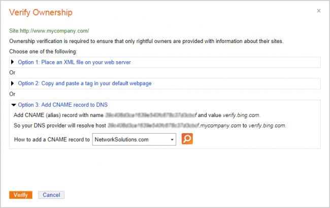 Verify Ownership dialog box in Bing Webmaster Tools