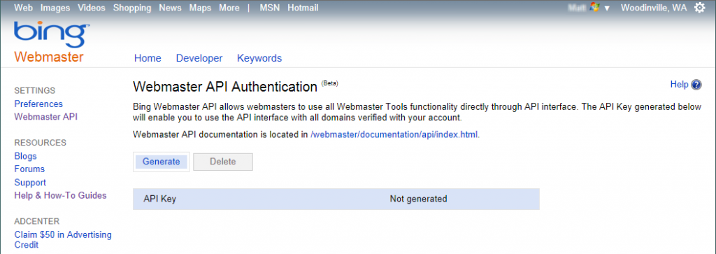 Webmaster API Authentication screen in Bing Webmaster Tools