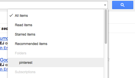 Google reader search options