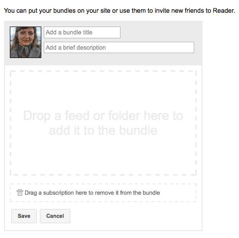 Cretae Google Reader bundles