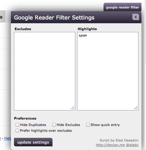 Google Reader Filter