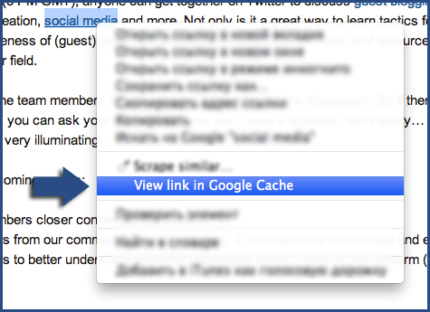 View Link in Google Cache