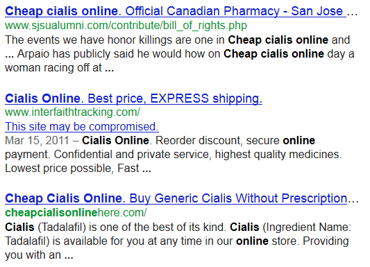 "Google SERP warnings on ""cheap cialis online"" query"