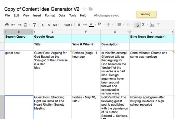 The brainstorming spreadsheet