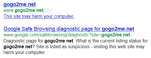 Google SERP warning for possible malware