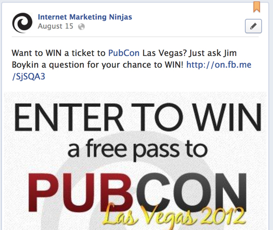 Set up contests on your Facebook page