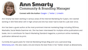 Ann Smarty's profile incorporates SEO microdata markup to enable proper author attribution