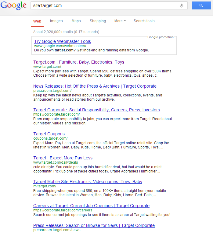 Site colon search for target.com