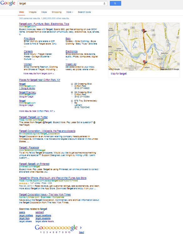 """Search result for """"Target"""" which shows whole page, and only 7 main listings instead of 10"""