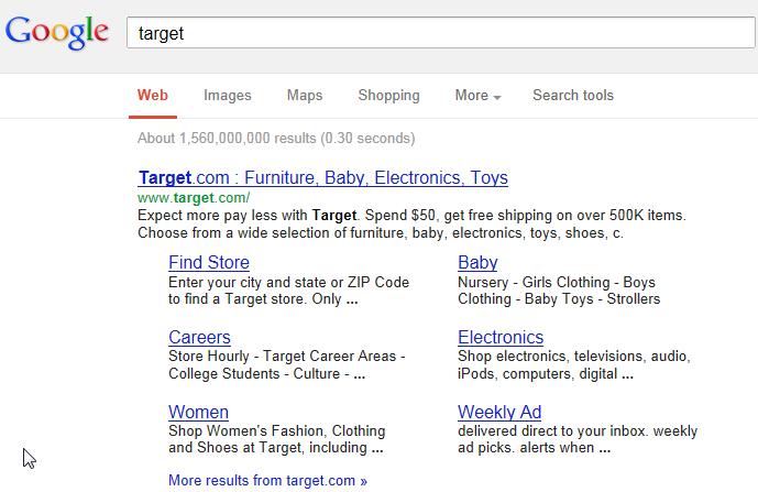 Target Corporation - Google search screenshot