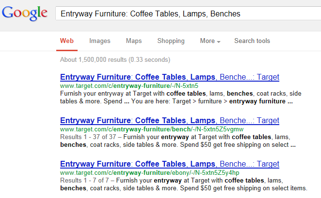 Google search result for deeper page title shows 3 pages from domain