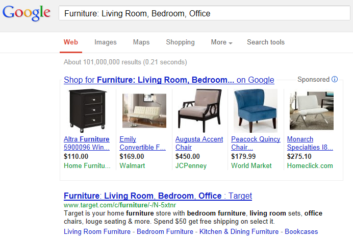 Google Search result for exact title of page being tested
