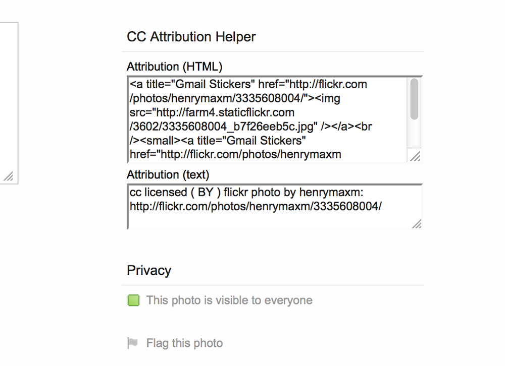 Flickr CC Attribution Helper