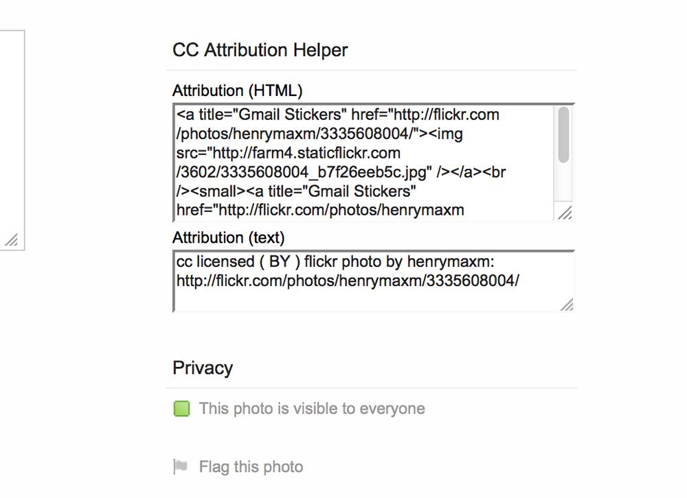 Flickr CC Attribution Helper