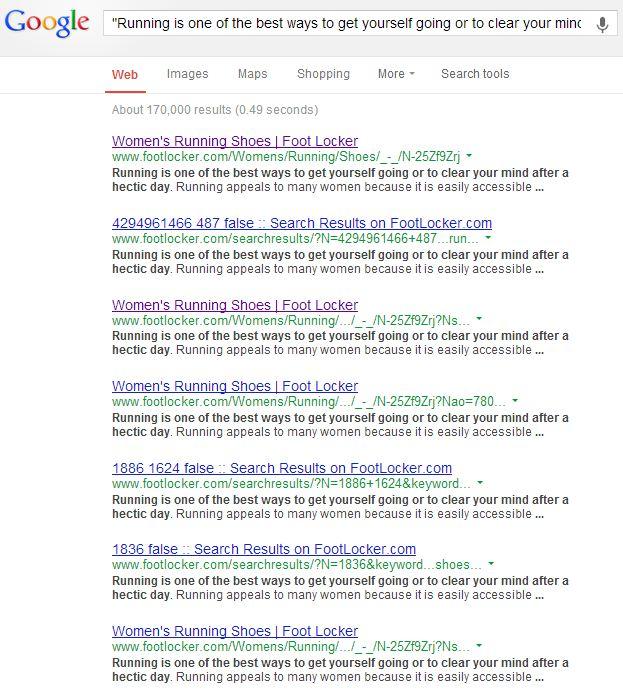 Google Footlocker Text Snippet Search