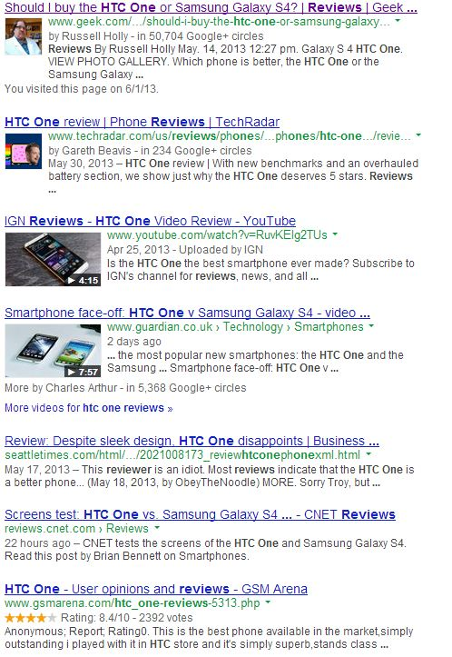 HTC One Review Google SERP 6.7.13