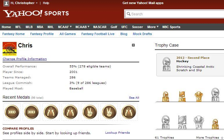 Yahoo Fantasy Profile Chris Boggs