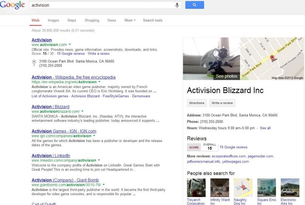 Activision Google SERP