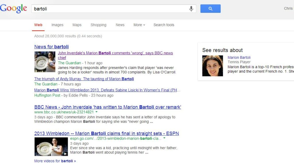 Google SERP - Bartoli