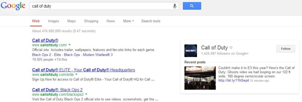 Google SERP Call of Duty