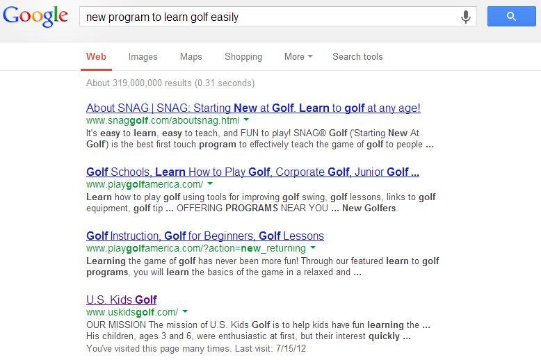 Google SERP Learn Golf 7.31.13