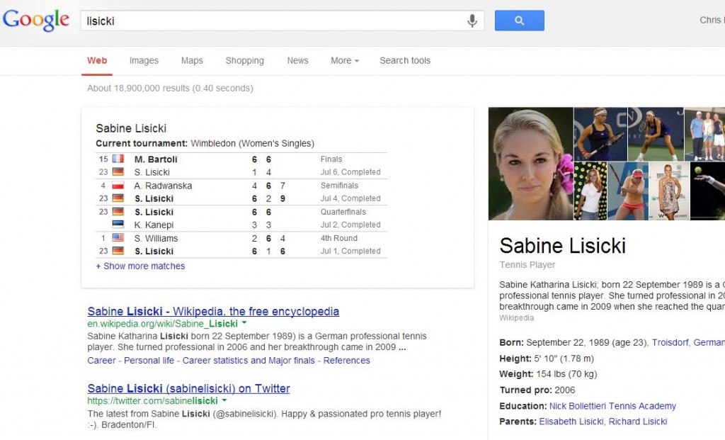 Google SERP Lisicki
