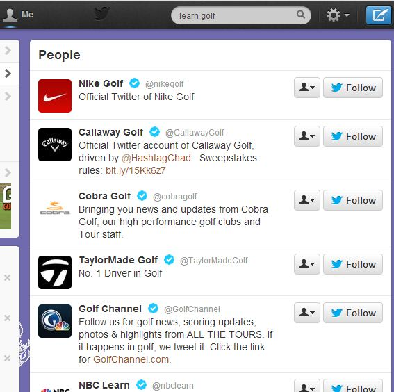 Twitter Search for People - Learn Golf 7.31.13