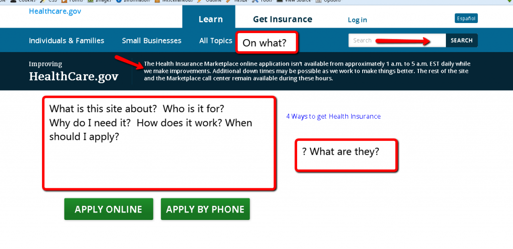 Healtcare.gov homepage
