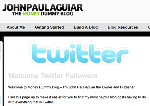 John Paul's Welcome Twitter Followers page