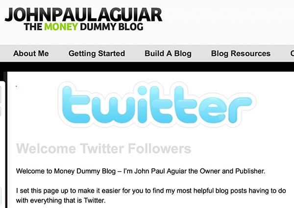John Paul's Welcome Twitter Followers page