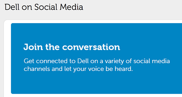 "Dell ""Join the Conversation"" page"
