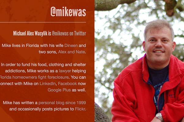 Michael Alex Wasylik's Twitter page