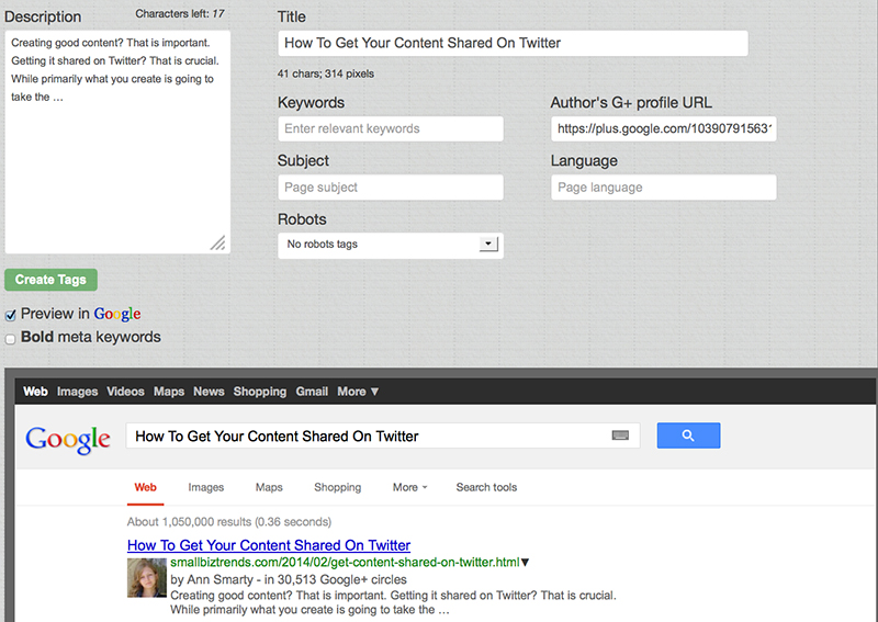 Meta Tag Analyzer (and Search Results Preview)