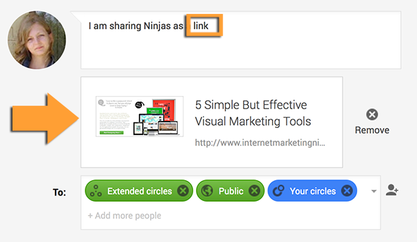 share your link normally