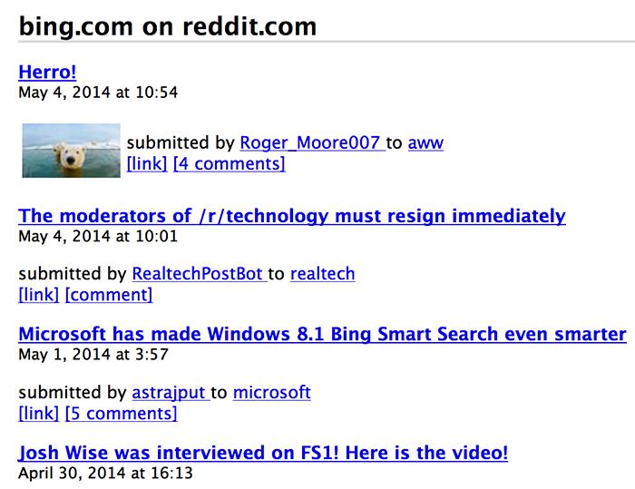 Reddit domain search