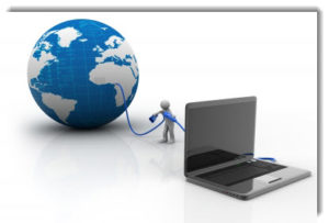 Earth attached to laptop