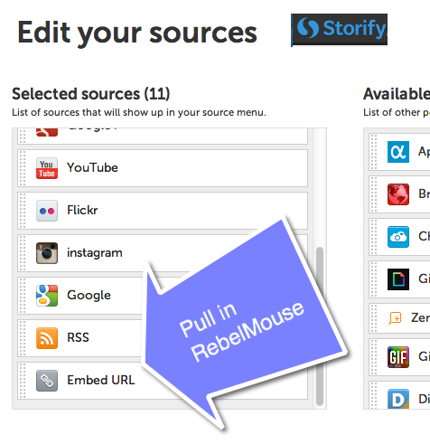 Using RebelMouse with Storify