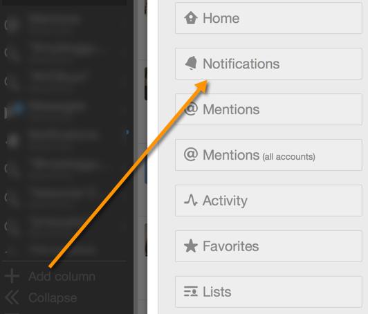 Twitter notifications to tweetdeck