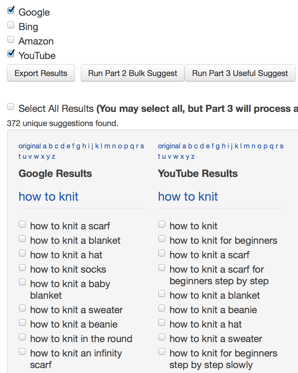 Google Suggest tool