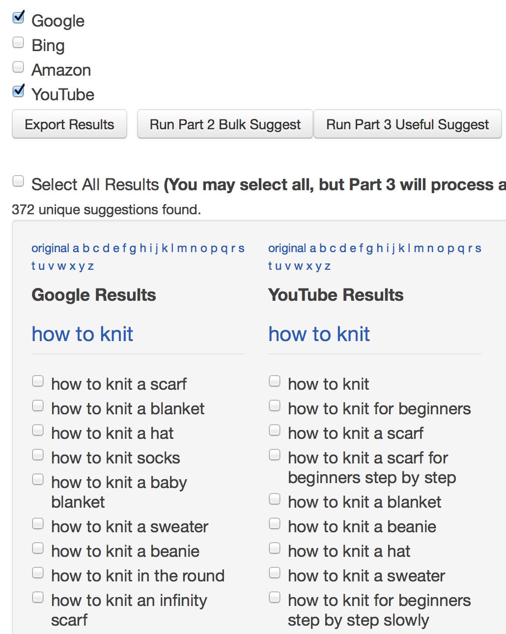 Google Suggest tool