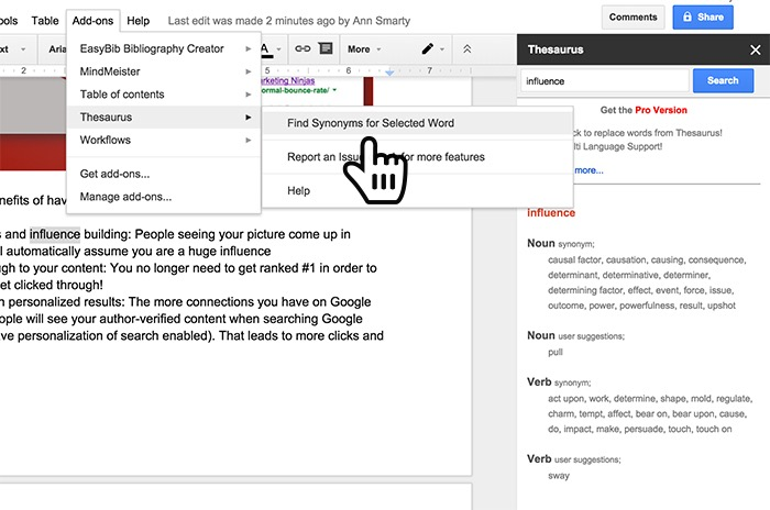 how to get synonyms on google docs