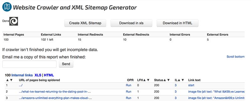Website Crawler and XML Sitemap Generator